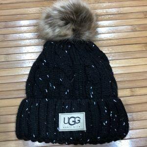 Black tweed winter hat with Pom Pom